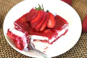 Strawberry-Raspberry Jell-O Whipped Cheesecake Layered Salad