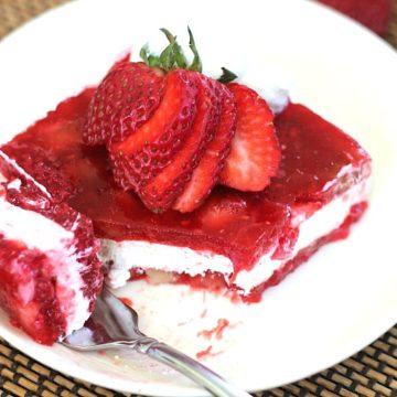 Strawberry-Raspberry Jell-O Whipped Cheesecake Layered Salad