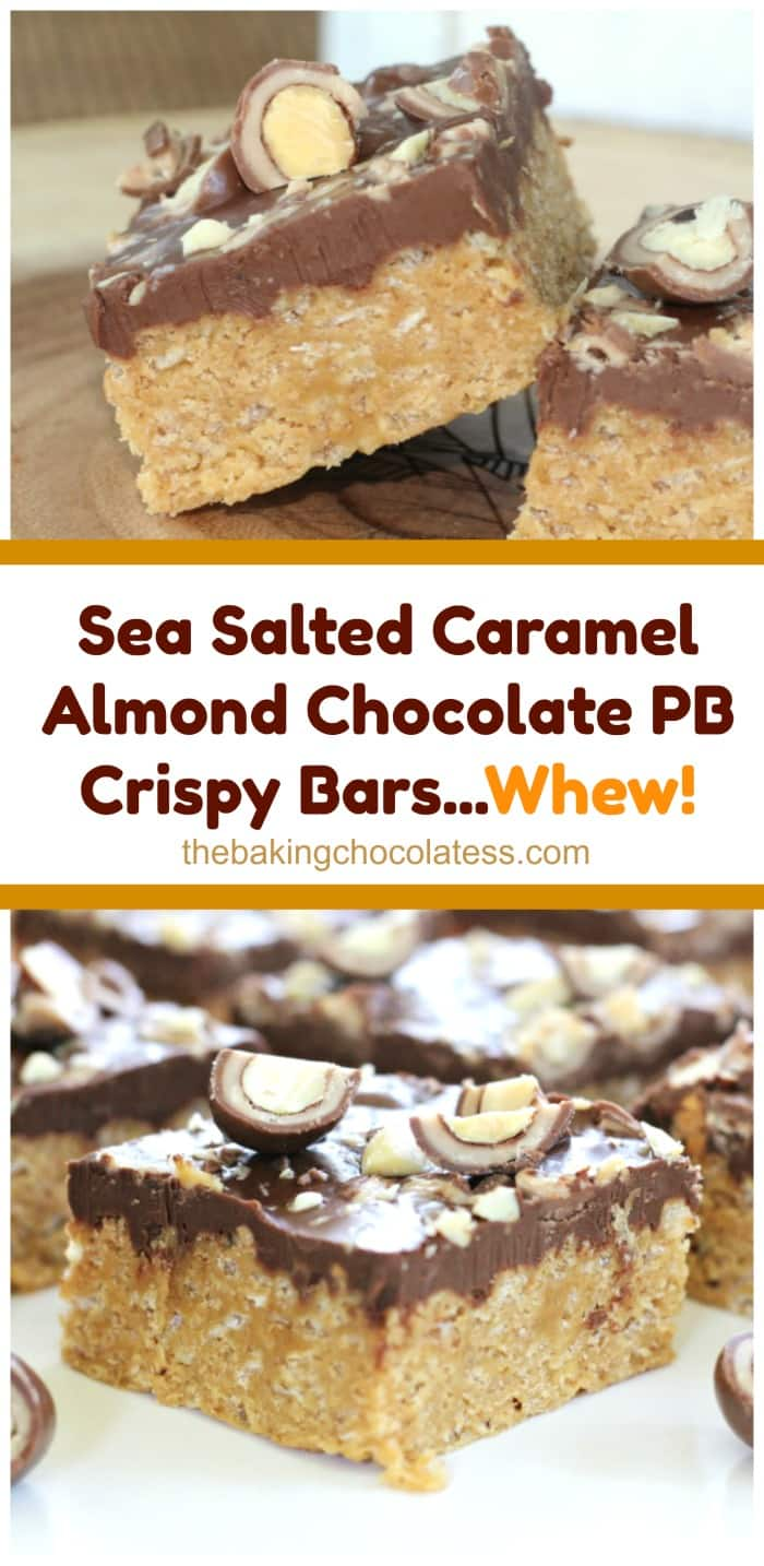 Sea Salted Caramel Almond Chocolate PB Crispy Bars...Whew!  Sea Salted Caramel Almond Chocolate PB Crispy Bars...Whew! These magnificent bars are every bit as good as the title is long!  The peanut butter bars are made with honey, sugar, peanut butter and rice krispies.  The bars are crispy and chewy.  they're slathered with a lovely chocolate peanut butter layer and then enrobed with INSANE chopped Milk Chocolate Covered Sea Salt Caramel Almonds scattered about and then you get OMG!