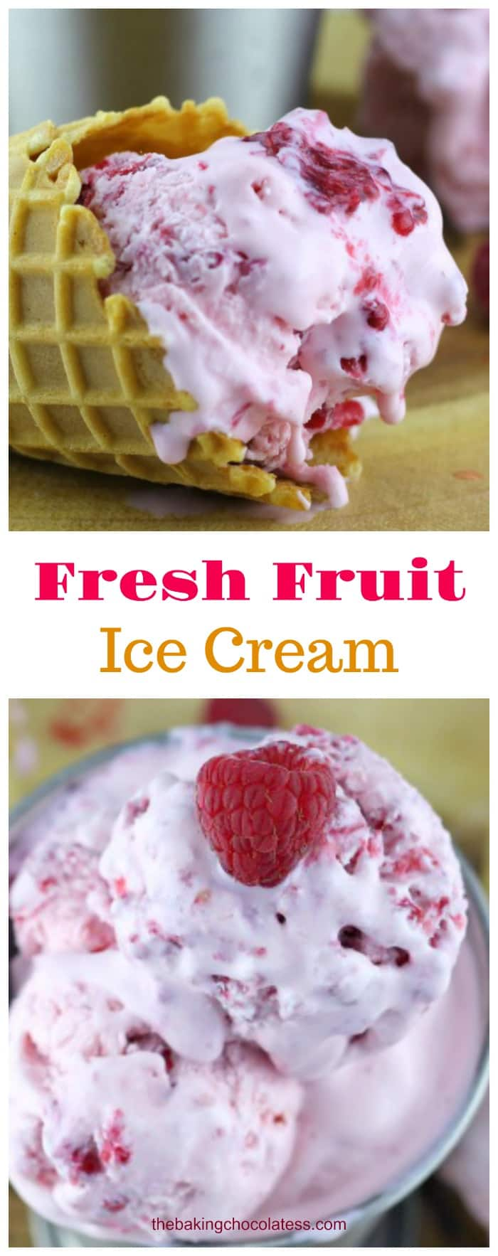 Fresh Fruit Ice Cream - Heavenly Raspberry flavor is bursting in this easy to make no-churn ice cream.  Perfect smooth and creamy summer raspberry frozen treat for everyone!