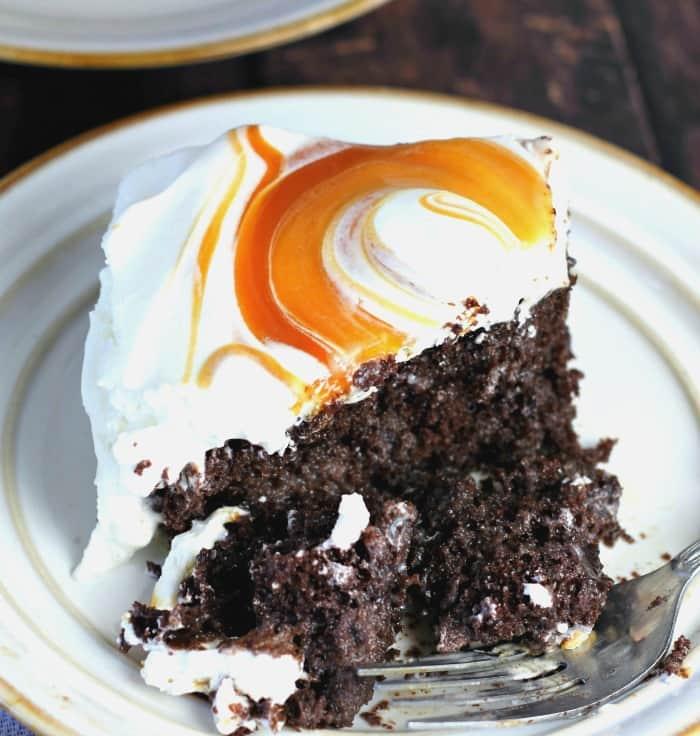 Easy Caramel Cream Chocolate Poke Cake