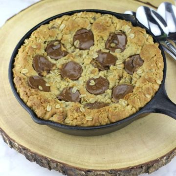 Peanut Butter Cup Oatmeal Chocolate Chip Skillet Cookies