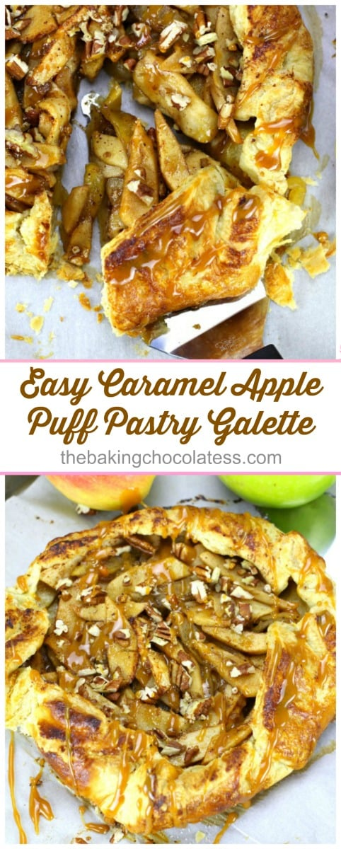 Easy Caramel Apple Puff Pastry Galette - - Tastes like Caramel Apple Strudel!  Perfect for Fall and Apple lovers!