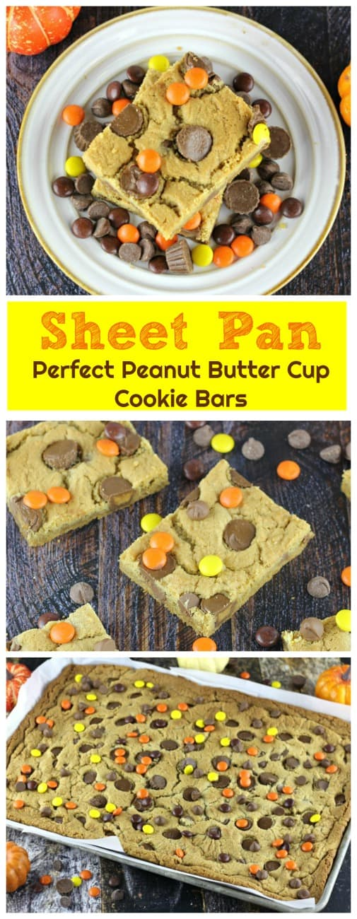 Sheet Pan Perfect Peanut Butter Cup Cookie Bars - So moist and chewy, these delicious peanut butter cookie bars are filled with Reese's Mini Peanut Butter Cups and Ghirardelli Milk Chocolate Chips and some Reese's Pieces for a splash of fall color.  Woo-wee!