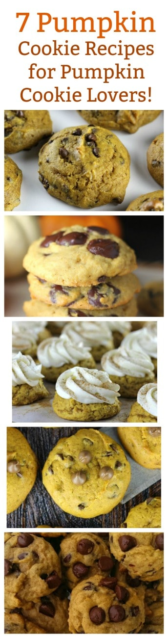 7 Pumpkin Cookie Recipes for Pumpkin Cookie Lovers! #Pumpkin #Cookies #Thanksgiving #Christmas #dessert
