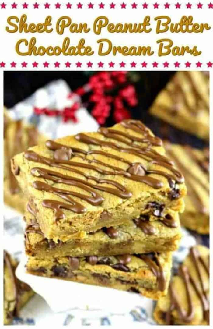 Sheet Pan Peanut Butter Chocolate Dream Bars - Look at that peanut butter chocolate glaze would ya?  These rousing peanut butter blondies are rich, moist and are abundantly loaded with peanut butter chips and milk and semi-sweet chocolate chips too!  A peanut butter and chocolate lovers dream for sure!!  Don't wake me up, ok? #peanutbutter #chocolate #chocolatechip #bars #dessert #baking #sheetpan