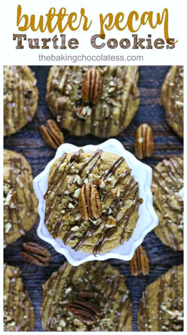 Butter Pecan Turtle Cookies - These mouth-watering cookies are buttery, chewy, thick and have caramel chips, chocolate chips, chopped pecans and drizzled with milk chocolate, sprinkled with some chopped pecans and a touch of sea salt. Perfect for the holidays!