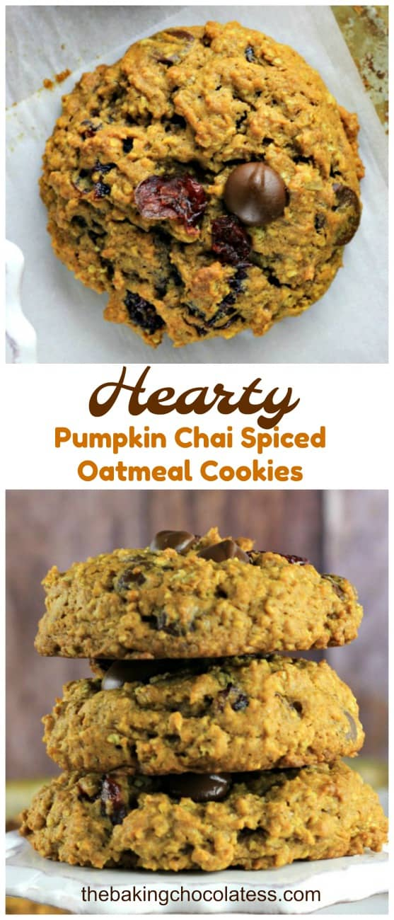 Hearty Pumpkin Chai Spiced Oatmeal Cookies (Chocolate Chips & Cranberries included) Hearty Pumpkin Chai Spiced Oatmeal Cookies are thick, chewy and delicious!  These have home-made pumpkin chai spices, oatmeal, molasses, chocolate chips, cranberries and great for snacking, breakfast or when you want healthy cookies that taste amazing!
