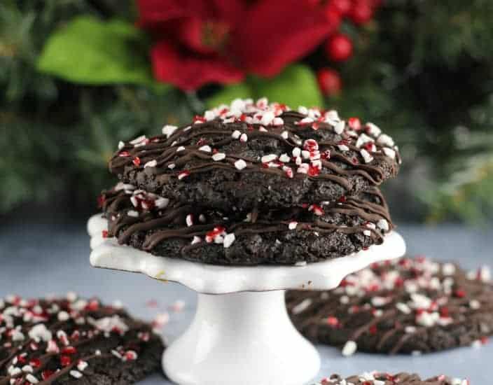Triple Chocolate Mocha Peppermint Crunch Cookies