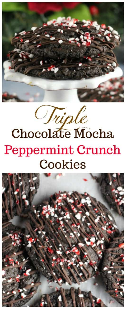 Triple Chocolate Mocha Peppermint Crunch Cookies - Rich, soft and chewy, fudgy Triple Chocolate Mocha Peppermint Crunch Cookies for the Christmas Holidays!  These are so festive, and that peppermint crunch on top is like a Christmas dream come true!   And let's not forget, there IS a hint of coffee to give it a delectable, rich chocolate mocha flavor!