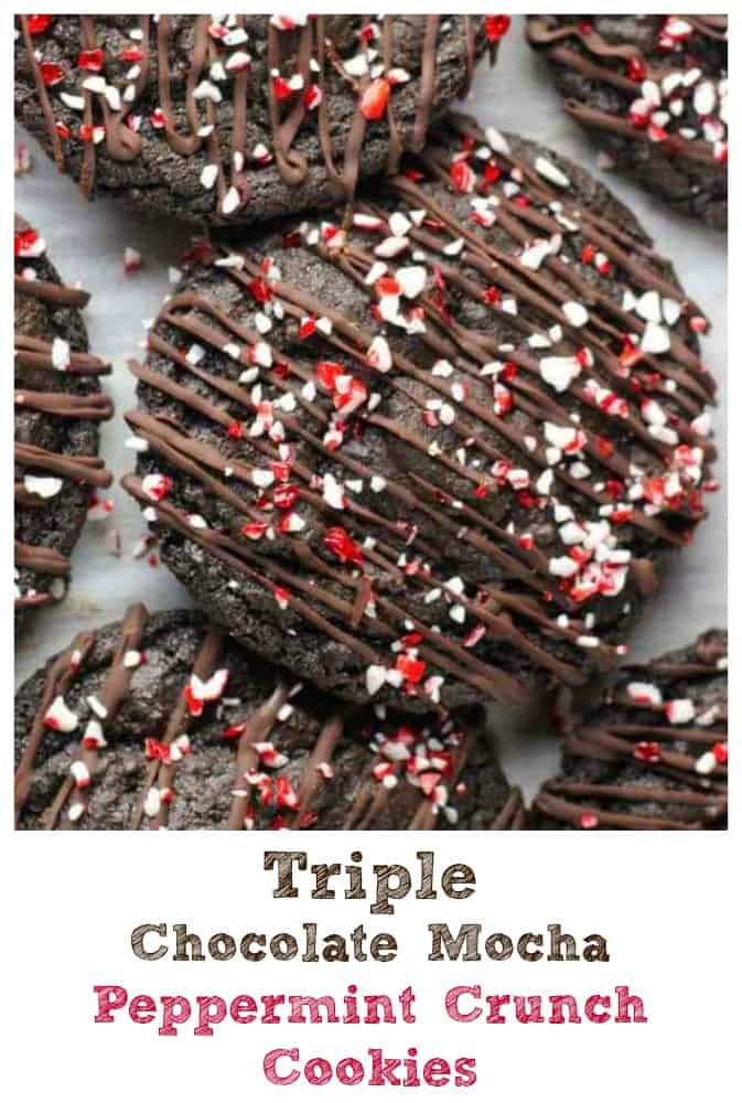 Triple Chocolate Mocha Peppermint Crunch Cookies