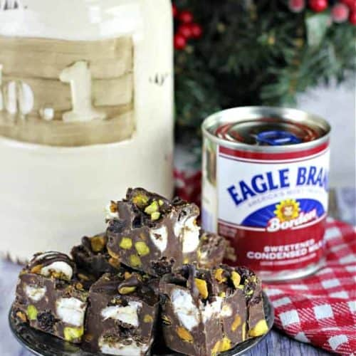 Chocolate Cherry Pistachio Rocky Road Fudge