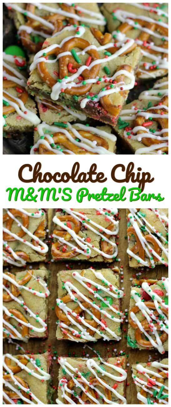 Chocolate Chip M&M\'S Pretzel Bars - These are wonderful party treats for any kind of celebration!  Enjoy, sweet, salty, crunchy and love all in one bite or five. #pretzel #bars #M&M #chocolatechip #cookies