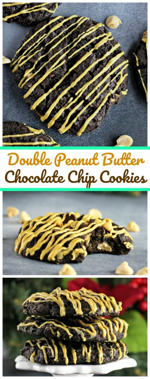 Double Chocolate Peanut Butter Chocolate Chip Cookies - Luscious morsels of peanut butter and chocolate chips are bursting inside these rich and chewy, fudgy double chocolate cookies and for a even more peanut buttery kick, drizzles of peanut butter were added. Oh My Gosh! #cookies #peanutbutter #chocolatechips #chocolate #baking #holidays