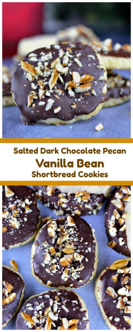 Vanilla Bean Shortbread Cookies (Salted Dark Chocolate Pecan On Top Option too!)