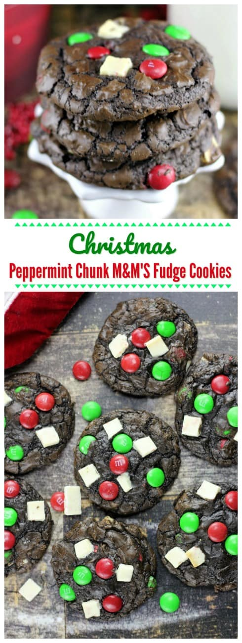 Christmas Peppermint Chunk M&M'S Fudge Cookies  - Christmas Peppermint Chunk M&M'S Fudge Cookies are everything you could ever hope for in a festive Christmas cookie!  White chocolate peppermint chunks, pretty green and red M&M'S, mini chocolate chips all neatly wrapped in chocolate fudge cookies. #chocolate #Ghirardelli #Peppermint #cookies #fudge M&MS #holiday #baking