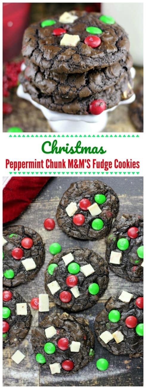 Christmas Peppermint Chunk M&M\'S Fudge Cookies