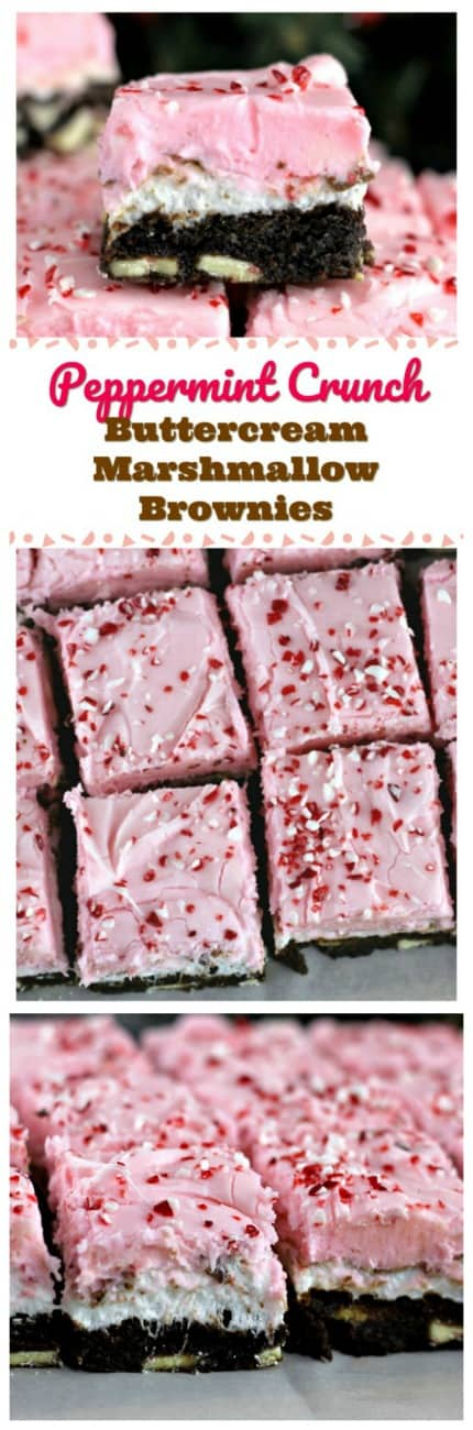 Peppermint Crunch Buttercream Marshmallow Brownies - Layers of  the really good stuff, like rich, lush chocolate-y brownies, bursting with Ghiradelli Limited Edition Chocolate Peppermint Baking Chunks, fluffy marshmallow, melty chunks of Ghirardelli Christmas Limited Edition Peppermint Bark Squares, and lastly,  a heavenly layer of cream cheese buttercream frosting with sprinkles of crushed peppermint.   #brownies #peppermint #ghirardelli #marshmallow #christmas #baking