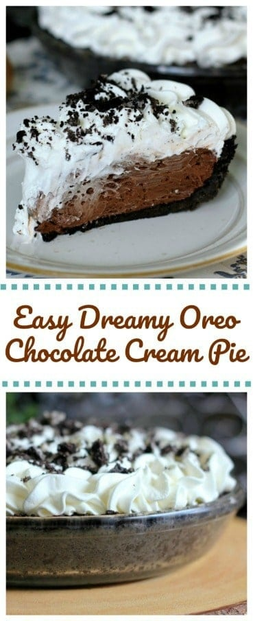 Easy Dreamy Oreo Chocolate Cream Pie - Can be ready in 5 minutes for those chocolate cream pie lovers!  Hooray! #pie #pudding #oreo #chocolate #easy #dessert