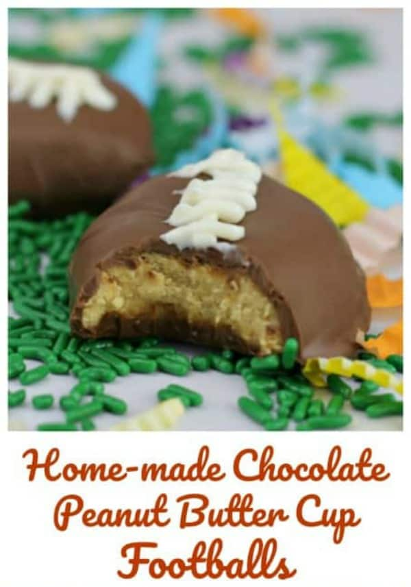 Home-made Chocolate Peanut Butter Cup Footballs!  These footballs will be kicking it at your Superbowl Party!  Reese's Peanut Butter Cup copy-cat recipe!  Yum!!!   #super bowl #reeses #peanut butter #football #chocolate #party