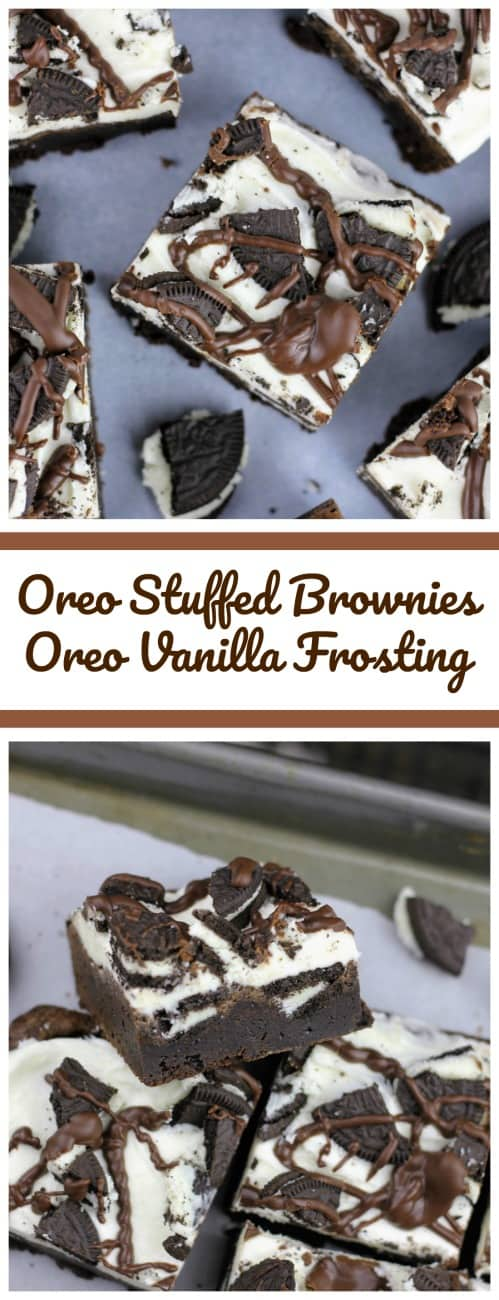Oreo Stuffed Brownies with Oreo Vanilla Frosting - These Oreo-stuffed fudgy brownies are rich and decadent and the vanilla frosting on top, mimics the Oreo frosting found in the middle of Oreo cookies and then there are more Oreo cookies loaded on top with a chocolate ganache drizzle.#oreo #frosting #brownies #ganache #vanilla #brownies