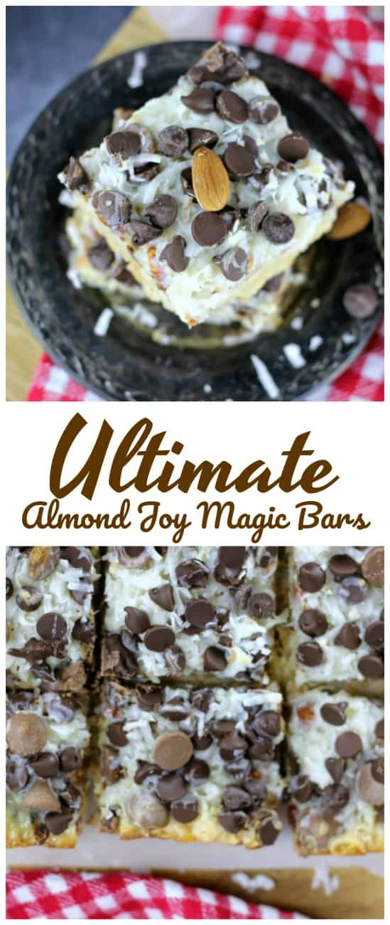 Ultimate Almond Joy Magic Bars - Ultimate Almond Joy Magic Bars for the win!  These delicious, gooey magic bars consist of a buttery, shortbread cookie crust, chopped almonds, a rich coconut and sweetened condensed-based filling and a delicious layer of dark and milk chocolate chips! #gooey #magicbars #sweetenedcondensedmilk #eaglebrand #almondjoy #coconut #almonds #chocolate #bars