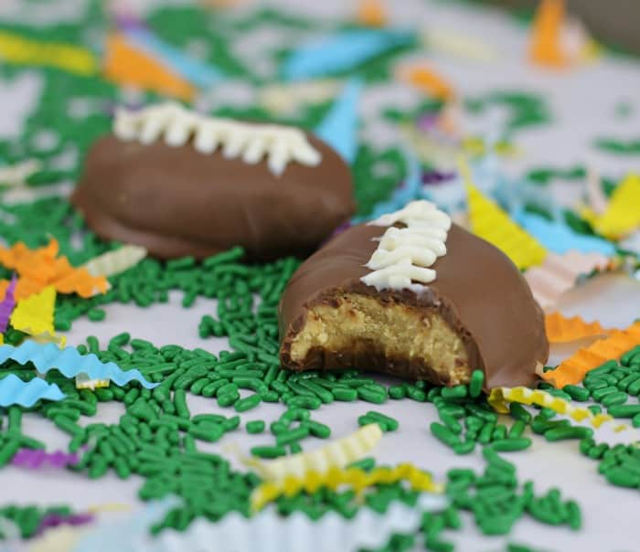Home-made Chocolate Peanut Butter Cup Footballs