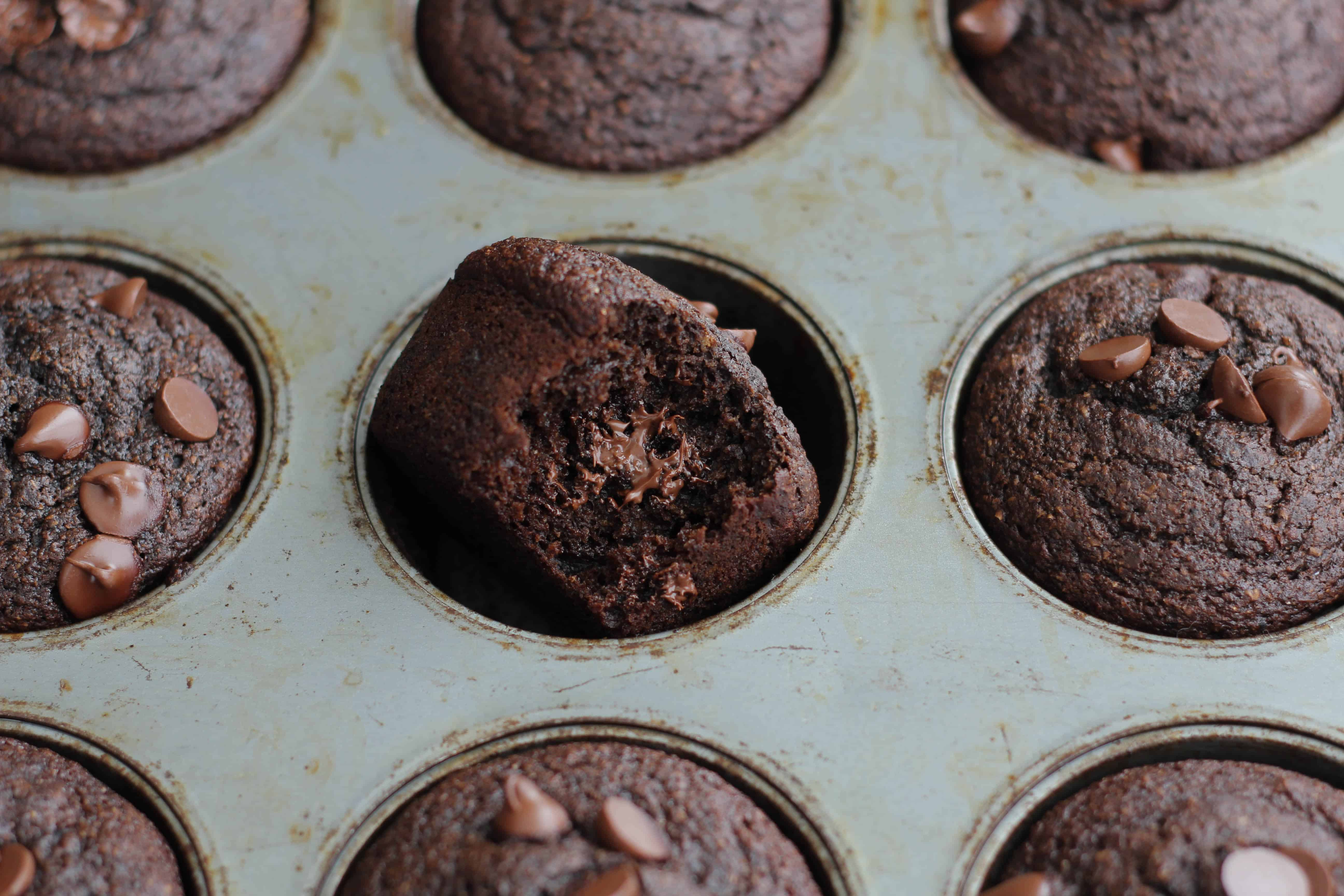 Healthy Super Fudgy Double Chocolate Muffins