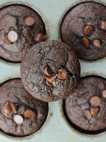 Super Healthy Fudgy Double Chocolate Muffins
