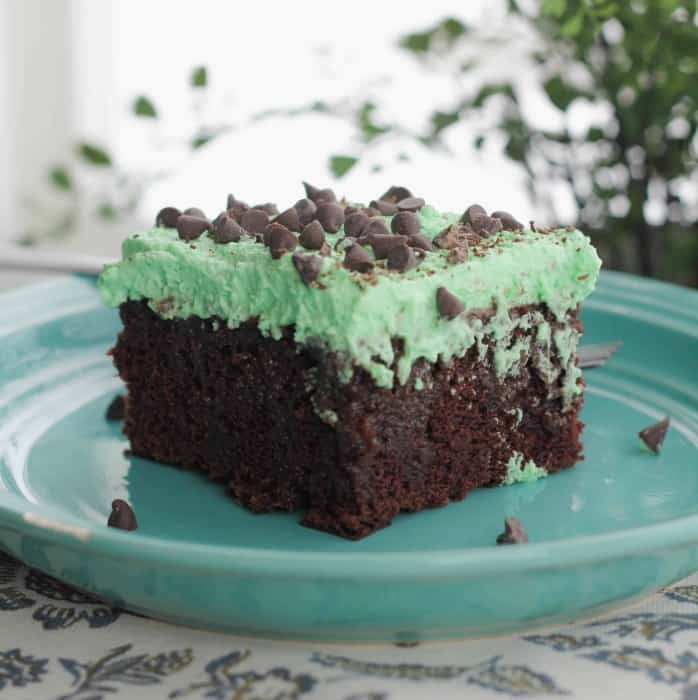 Holiday Chocolate Mint Poke Cake