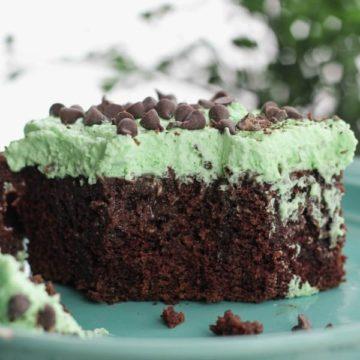 Holiday Chocolate Mint Poke Cake