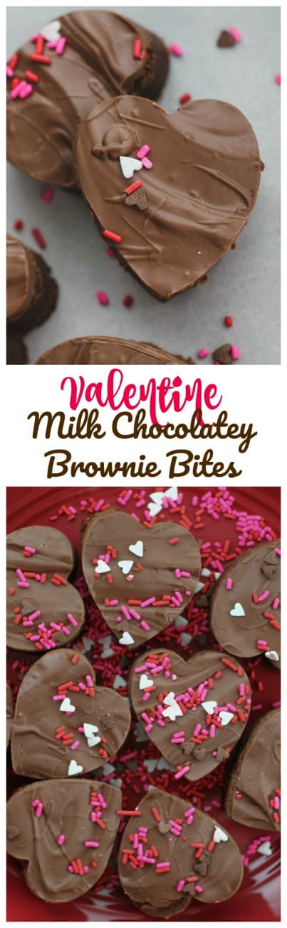 Valentine Milk Chocolatey Brownie Bites -  Sinfully, adorable Milk Chocolatey Brownie Bites topped with creamy Milk Chocolate because, it\'s almost Valentine\'s Day! #brownies #valentines day #milk chocolate #chocolate