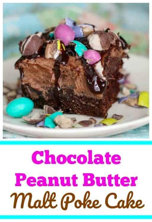 Chocolate Peanut Butter Malt Poke Cake