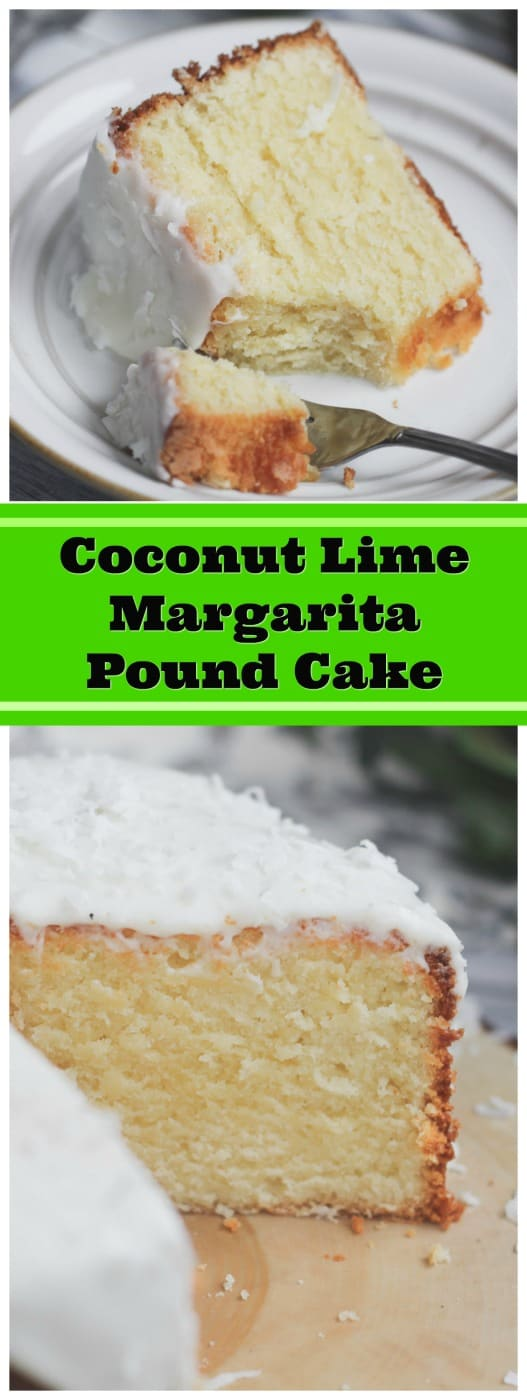 Luscious Coconut Lime Margarita Pound Cake - This heavenly Luscious Coconut Lime Margarita Pound Cake has a velvety, yet smooth texture. It's very light, very moist, lush, very dense, and has wonderful, subtle hints of lime, tequila and coconut! #coconut #tequila #lime #margarita #pound cake  #cake #baking #summer #sping