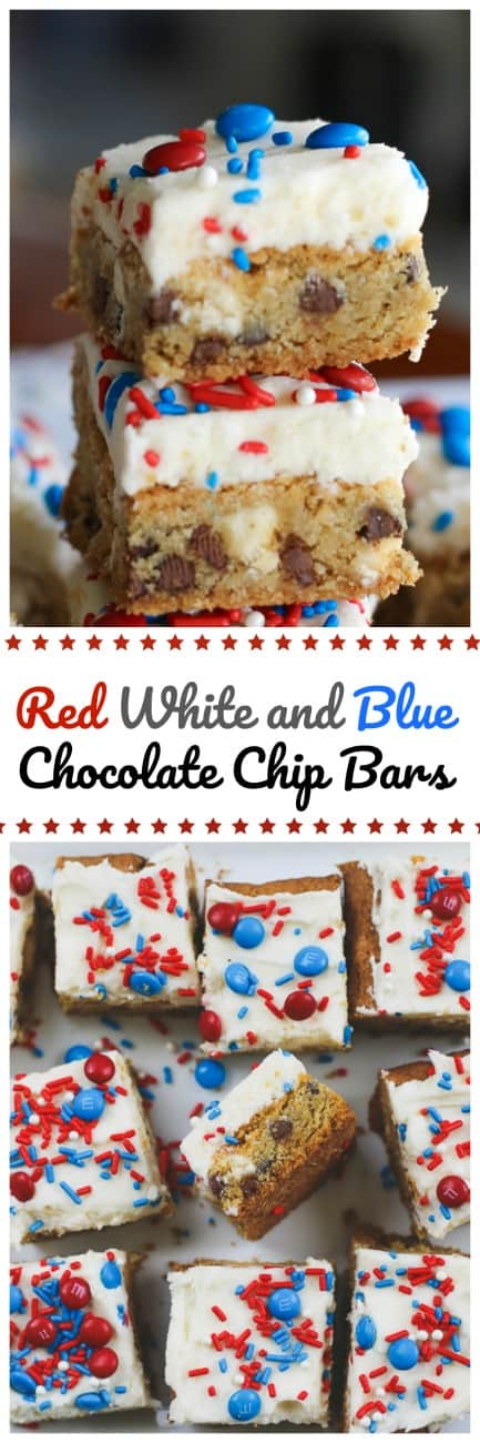 Red White and Blue Chocolate Chip Bars - - Red White and Blue Chocolate Chip Bars are these wonderful, chewy, buttery cookie bars that have just the right balance of vanilla milk chips and chocolate chips.  A delicious layer of tempting vanilla buttercream and some high-spirited red, white and blue accessories to make it red, white and blue \'official\'! #red white and blue #chocolate chip #bars #4th of july #desserts #buttercream