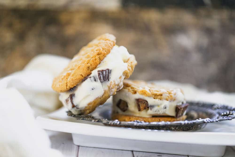 Peanut Butter Cookie Ice Cream Sandwiches