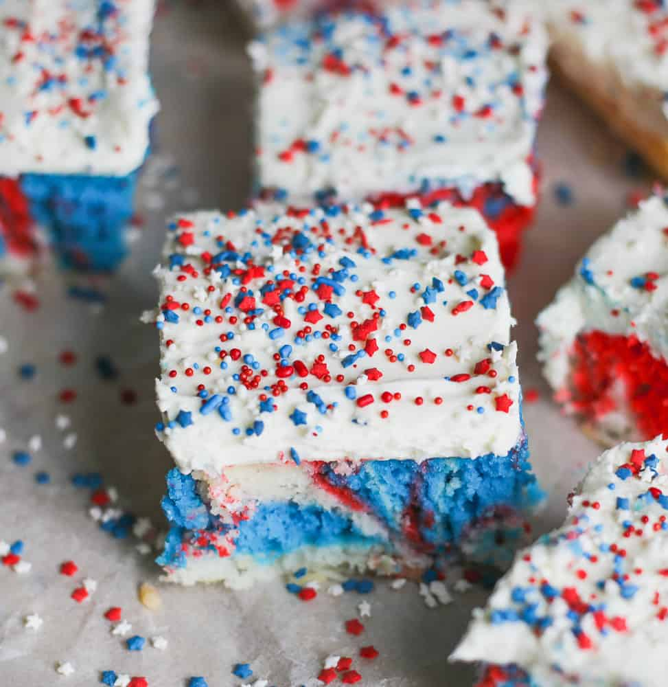 Retro Red White and Blue Explosion Cake