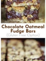 Chocolate Oatmeal Fudge Bars (Gluten Free Option)