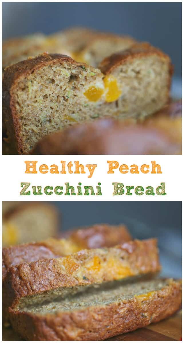Healthy Peach Zucchini Bread - This Healthy Peach Zucchini Bread is perfect for summer-time snacking.  So good, so moist and so full of yummy, healthy ingredients that taste wonderful in this delicious quick bread. #peach #zucchini #bread #quick bread #summer recipes #healthy