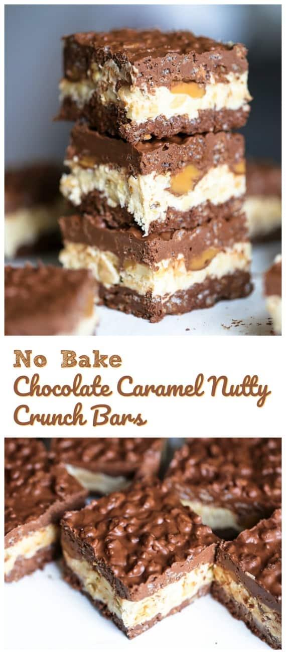 No Bake Chocolate Caramel Nutty Crunch Bars