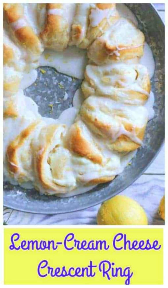 Lemon-Cream Cheese Crescent Ring - WHO in the world doesn't love to happily indulge in warm lemon-cream cheese filling enrobed in Pillsbury's buttery, golden baked crescent roll dough, and drizzled with a sweet cream glaze on top?  Is it wrong to want lemon cream cheese danish mouthfuls of heaven?  @pillsbury #PillsburyPartner  #sponsored #lemon #cream cheese #pastry #crescent ring