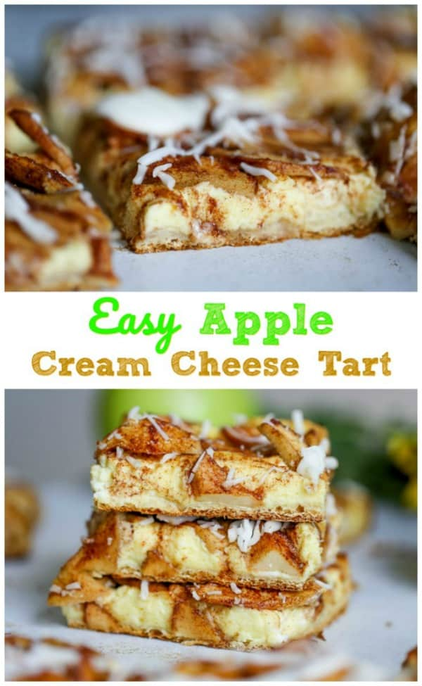 Easy Apple Cream Cheese Tart - This stunning Apple Cream Cheese Tart proudly touts a buttery, flaky pastry crust filled with a tempting, delectable layer of luscious cream cheese filling. Then it\'s topped with a layer of thinly sliced cinnamon sugary Granny Smith apples and is baked to a lovely golden brown.  But wait...Then it\'s drizzled with a simple old-fashioned glaze.   OH MY!  Heart be still!