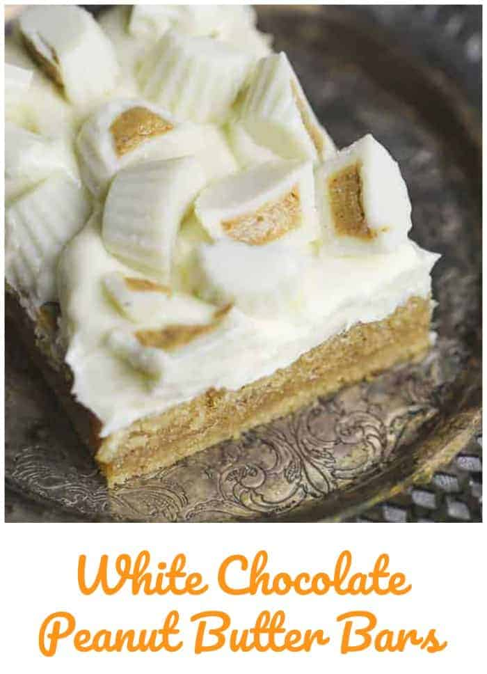 White Chocolate Peanut Butter Bars - Deliciously peanut butter cake bars topped with a dreamy white chocolate buttercream and Reese\'s mini white chocolate peanut butter cups.  PB lover inspired!