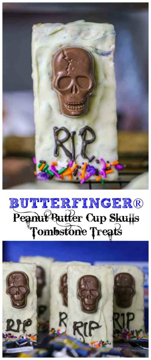 BUTTERFINGER® Peanut Butter Cup Skulls Tombstone Treats - One way to get the party started is with these haunting BUTTERFINGER® Peanut Butter Cup Skulls Tombstone Treats!  @Nestle #butterfinger #candy #halloween #treats