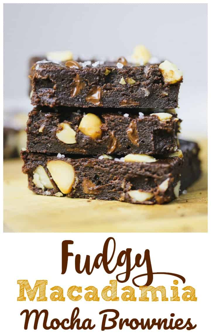 Fudgy Macadamia Mocha Brownies - If you love intense chocolate flavor, you'll literally go nuts over these awesome Fudgy Macadamia Mocha Brownies!  They're rich and fudgy ultra chocolate brownies with chocolate chips, a subtle hint of coffee, a nice crunch of roasted macadamia nuts, a little sea salt.  Top-level brownies minus all the calories of sugar. #Keystonepantry #Alluloserecipe