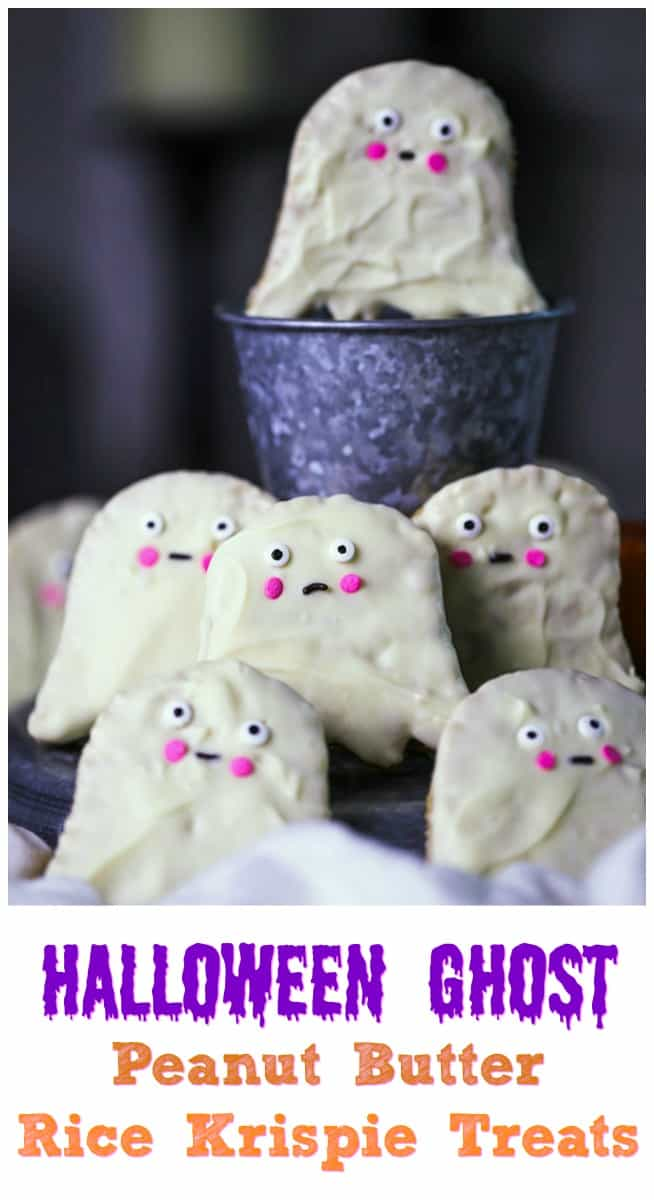 Halloween Peanut Butter Rice Krispie Ghosts