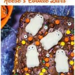 Flourless Halloween Reese's Cookie Bars