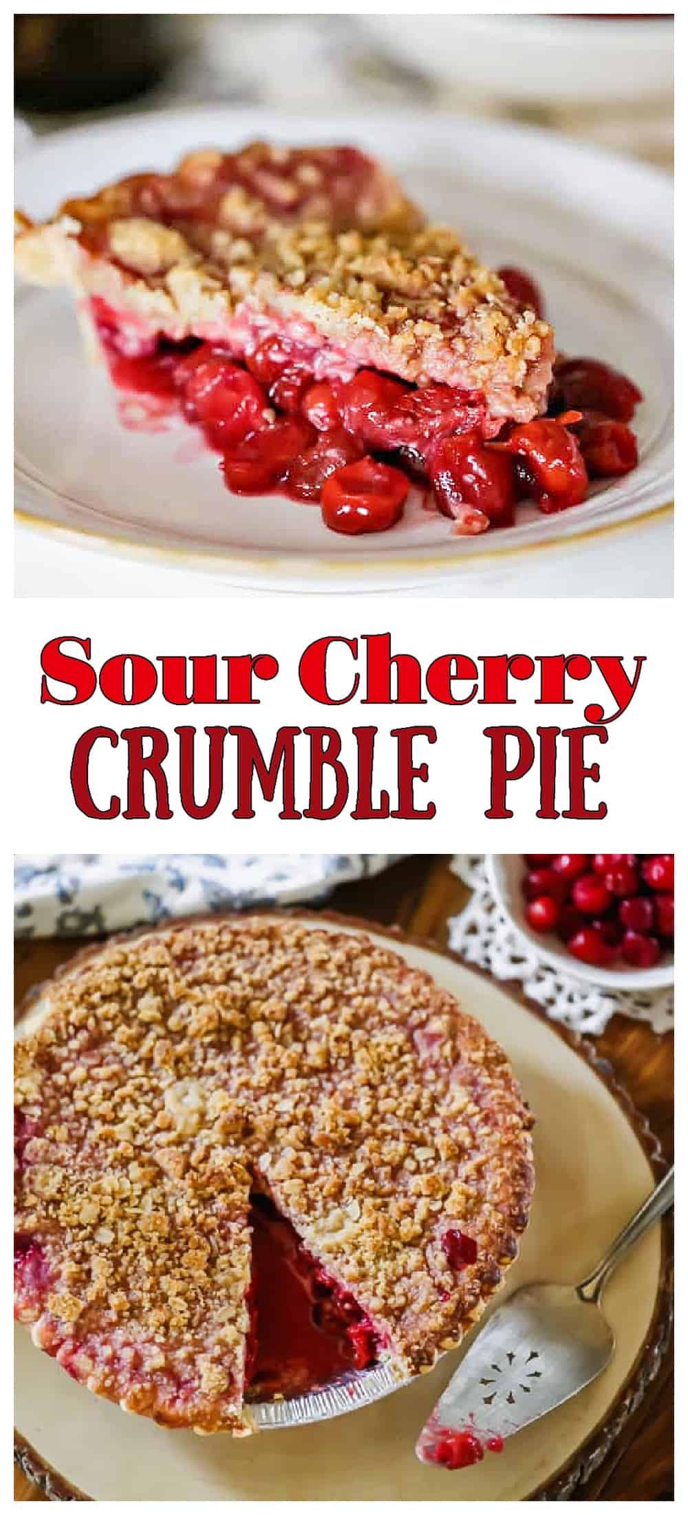 Red Tart Cherry Crumble Pie