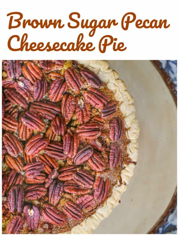 Brown Sugar Pecan Cheesecake Pie!  For the holidays, this buttery, decadent Brown Sugar Pecan Cheesecake Pie is a total crowd pleaser, especially when your guests realize there is a velvety layer of cheesecake yumminess tucked inside pecan pie!  Best of both worlds!