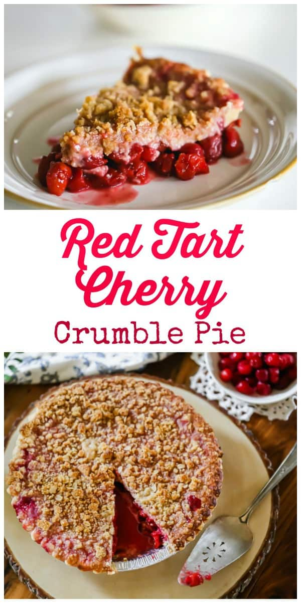 Red Tart Cherry Crumble Pie is generously loaded with tart cherry pie filling and is yummily enhanced with what is bound to be everyone's favorite thing about this pie, the buttery crumble topping! Yessss! #pie #cherry #crumble